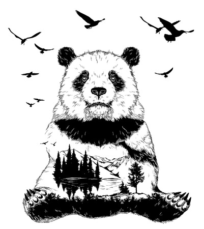 Vector Double exposure, Hand drawn panda bear and forest landscape for your design, wildlife concept Vettoriali