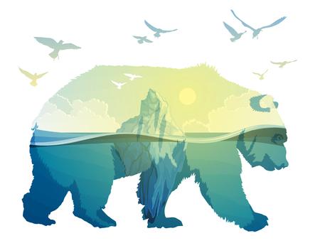 ホッキョクグマ 地球温暖化二重露出  イラスト・ベクター素材