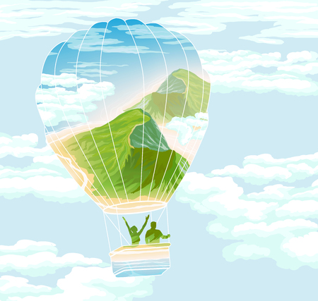 Balloon with travelers and summer landscape