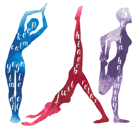 Watercolor Silhouettes of woman practicing yoga, vector illustration Illustration