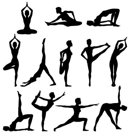 Silhouettes of woman practicing yoga, relaxation and meditation, vector illustration