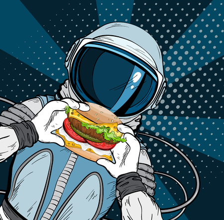 Astronaut with fast food hamburger in pop art style. Cosmonaut on blue background eating cheeseburger Illustration