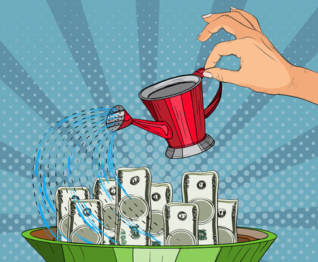 Concept for business investment, savings and making money, investor watering money. Illustration