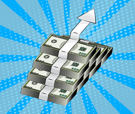 Rising arrow showing financial growth, symbol of wealth, business development and accumulation of money. Pop art style