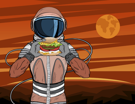 Astronaut with fast food hamburger in pop art style. Cosmonaut on Mars planet surface eating cheeseburger