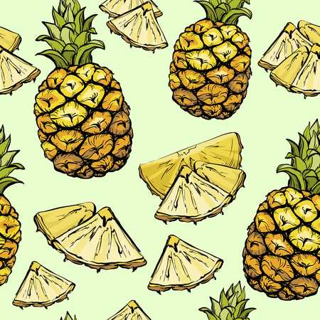 Pineapple seamless pattern, exotic summer fruit isolated on light background. Ilustração
