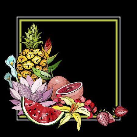 Tiré par la main fond exotique exotique avec fruits Banque d'images - 100021911