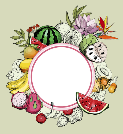 Hand drawn summer background with fruit