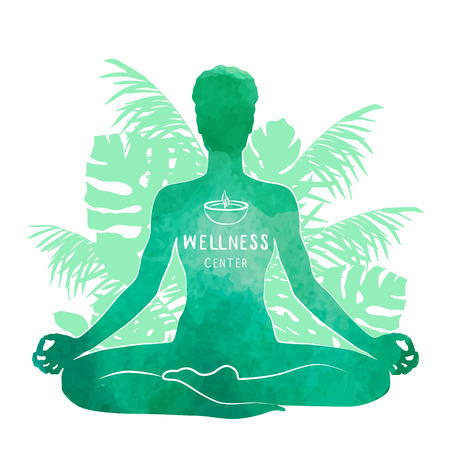 Practicing yoga, relaxation and meditation concept. Watercolor Silhouette, vector illustration Illustration
