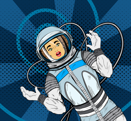 Woman with expression of surprise on her face in cosmonaut suit, pop art style. Vector illustration