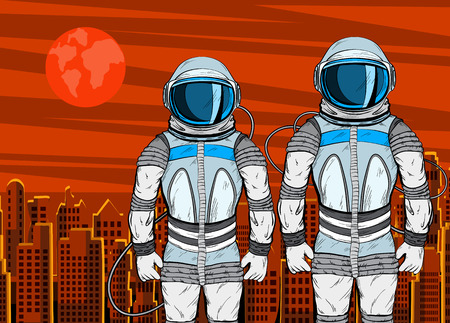 Cosmonaut on Mars planet surface in pop art style. 일러스트