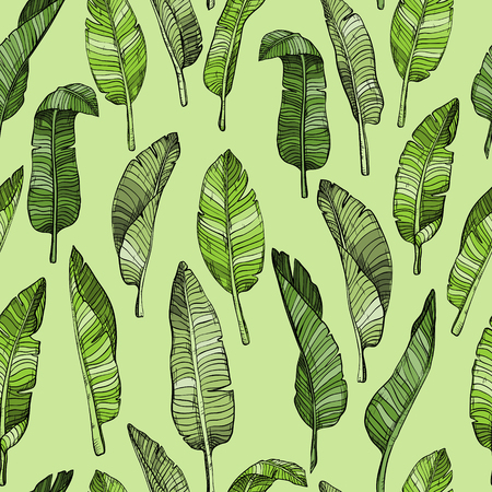 Abstract seamless leaves pattern with tropical leaves