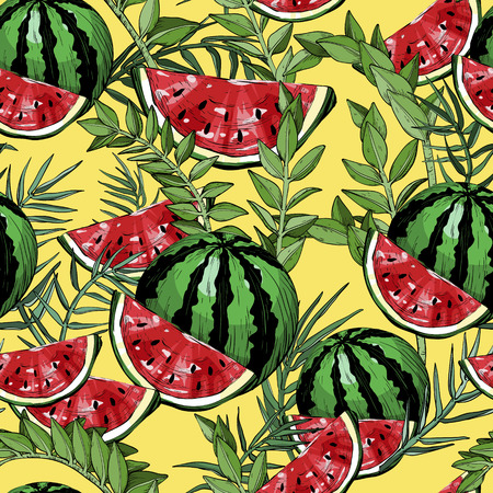 Seamless pattern with watermelons and green tropical leafs and plants