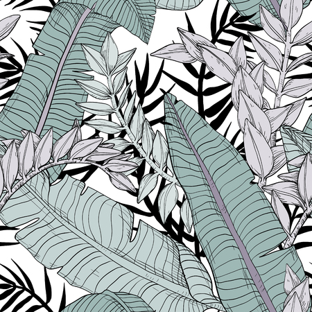 Floral seamless leaves pattern with tropical plants 矢量图像