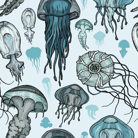 Seamless pattern with sea jellyfish.  イラスト・ベクター素材