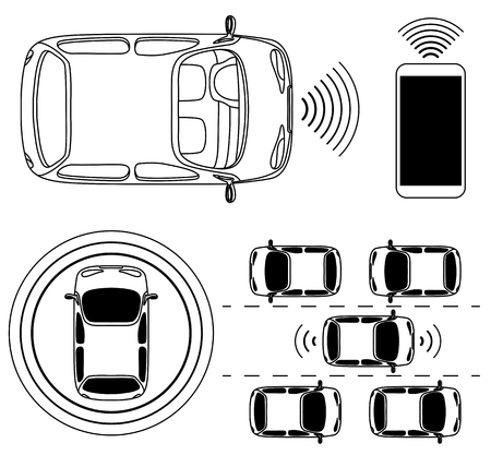 Driverless robotic car, self-driving auto, view from above, vector illustration.