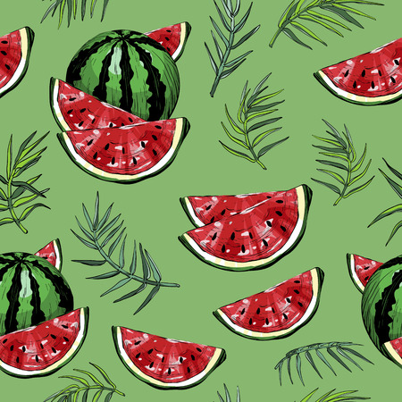 Seamless pattern with watermelons and green palm leafs and plants, vector illustration