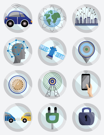 Driver assistance system icon set. Driverless robotic self-driving car, vector illustration.