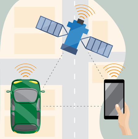 Driverless car in city, view from above, vector illustration Ilustrace