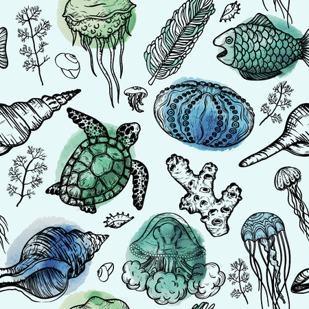 Acuarela de patrones sin fisuras con dibujo de conchas marinas, tortugas, corales y medusas. Fondo dibujado a mano