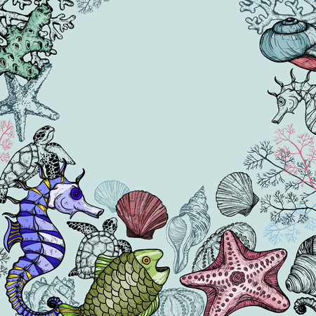Background with sea shells, fish, corals and turtle