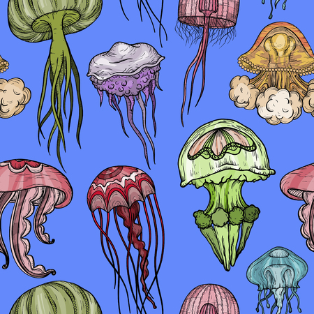 Seamless pattern with jellyfish. Stock fotó