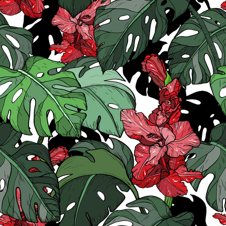 Seamless pattern with Tropical red flowers and green leaves. Vector illustration. Standard-Bild - 112321055