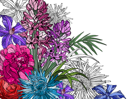 Floral background with Rose, peony, geocant, , clematis flowers