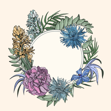 Vintage background with peony, hyacinth and clematis flowers Vector illustration