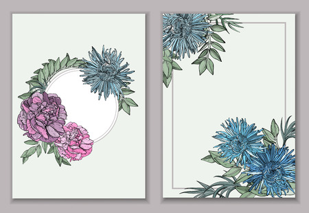 Vintage backgrounds and covers with peony, asters flowers. Vector illustration