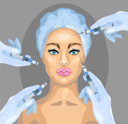 Vector Plastic surgery illustration. Botox injection cosmetic procedure.