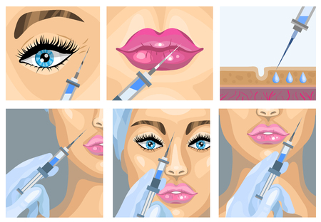 Botox injection cosmetic procedure set. Vector illustration