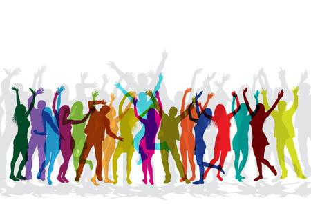 Coloridas siluetas de personas celebrando y bailando en la fiesta.