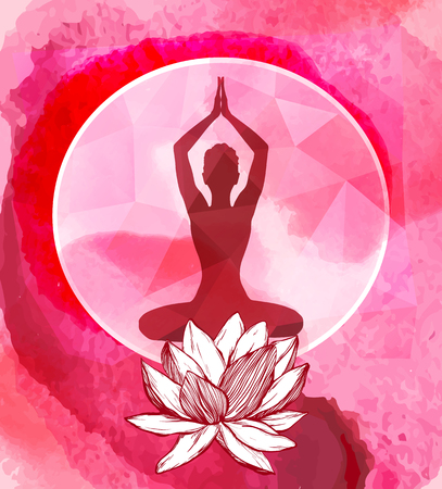 lotus flower and female silhouette above it. Yoga logo emblem. Ilustração