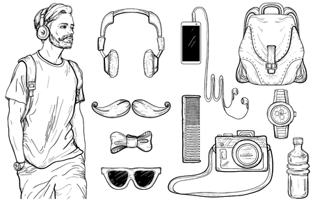 Sketch of hipster man and Men's Accessories set. Vector illustration