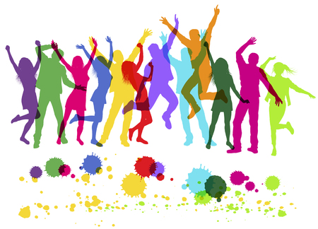 Personas coloridas siluetas bailando en fiesta. Aislado en blanco. Ilustración vectorial