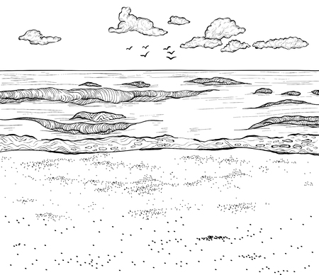 Sketch of sandy beach and wavy sea. Vector illustration. Black and white Ilustração