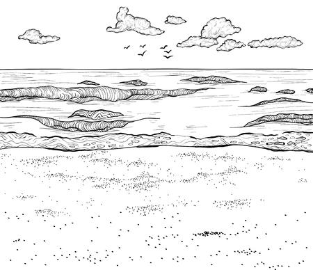 Skizze des Sandstrandes und des welligen Meeres. Vektor-Illustration. Schwarz und weiß