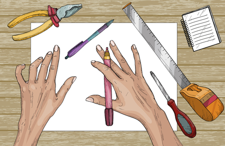Designer ready to work, construction tools on wooden table, wooden background. Vector illustration