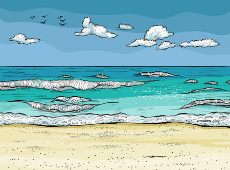 Waves splashed on the sandy beach. Tropical relaxation vector illustration. Vectores