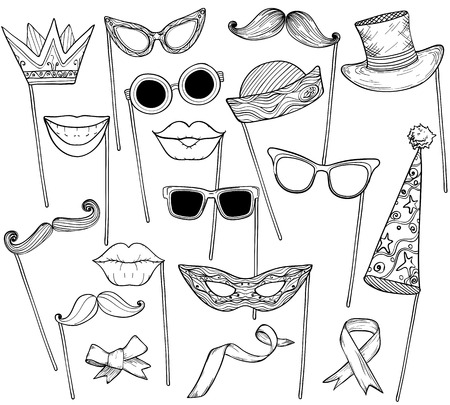 Sketch of booth props mustache, glasses, holiday hat and lips. Party accessories set. Vector illustration