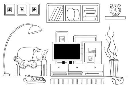 Schizzo dell'interno del soggiorno. Illustrazione vettoriale.