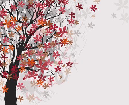 Foglie di castagno rosso che cadono dall'albero nel vento. Sfondo autunnale. Illustrazione vettoriale