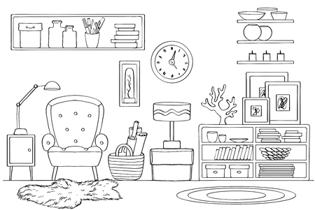 Sketch of room interior. Vector illustration. Black and white