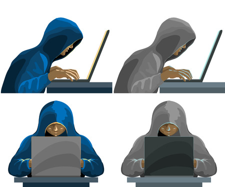 Hackers black hooded figures collection. Vector illustration Illustration