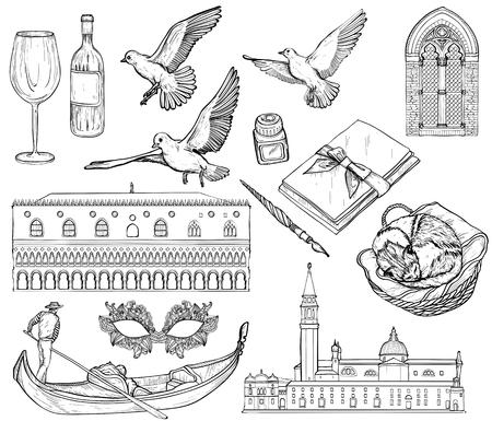 Vector Set of Venice sketch. Black and white. Vektorgrafik