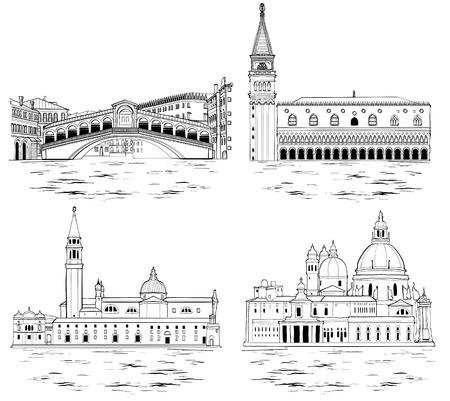 Set di monumenti e attrazioni turistiche di Venezia. Illustrazione vettoriale. Bianco e nero Vettoriali