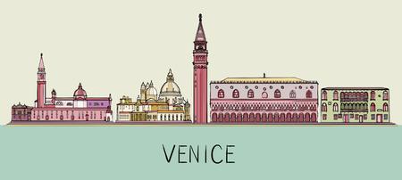 Ilustración de horizonte de arquitectura de Venecia. Paisaje urbano con monumentos famosos, lugares de interés de la ciudad Ilustración de vector