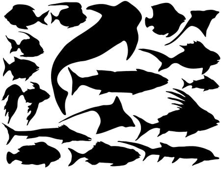 Jeu de silhouettes de poissons sous-marins de mer vectorielles