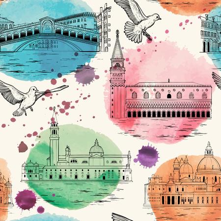 Modello senza cuciture con i punti di riferimento di Venezia e le attrazioni turistiche impostate. Vettoriali